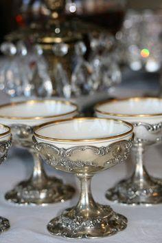 Romancing the Home: Santa Surprises the Cook! Vintage Silver, Antique Silver, Vintage Cups, Vintage Tea, Argent Antique, Butler Pantry, Dinnerware, Vintage Antiques, Art Deco