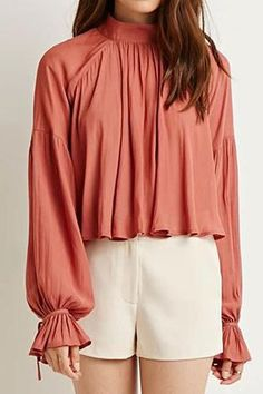 Elegant Stand Collar Solid Color Ruffled Long Sleeve Blouse For WomenBlouses   RoseGal.com
