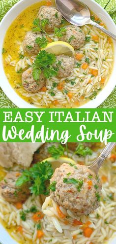 This Easy  and comforting Italian Wedding Soup uses frozen meatballs, but it still tastes like homemade. Your family will love this homey soup. | Foodtastic Mom #italianweddingsoup #souprecipes #frozenmeatballs via @foodtasticmom Quick Beef Recipes, Quick Dinner Recipes, Healthy Soup Recipes, Savoury Recipes, Healthy Meals, Crockpot Recipes, Healthy Food, Cooking Recipes, Italian Meatball Soup