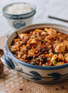 Vegan Mapo Tofu (The Woks of Life) - Meatless Main d - Asian Tofu Recipes, Asian Recipes, Vegetarian Recipes, Cooking Recipes, Healthy Recipes, Ethnic Recipes, Vegan Vegetarian, Diet Recipes, Chinese Recipes