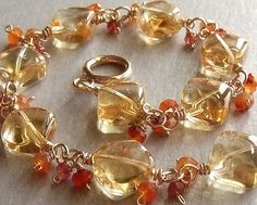 Sunny Citrine Bracelet in Gold with Carnelian and by LuminaJewelry, $78.00