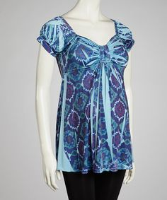 Look at this Blue Sublimation Maternity Top on #zulily today!