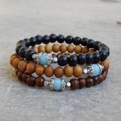 Positivity and confidence - genuine Amazonite guru bead sandalwood, ebony, and wood beaded bracelet set of 3, wrist mala, yoga jewelry, men. $49.00, via Etsy.