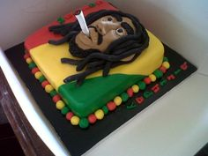 my baby loves bob marley and i want to surprise her with this cake for her bday in may Unique Cakes, Creative Cakes, Cupcakes, Cupcake Cakes, Fondant Cakes, Rasta Cake, Bob Marley Cakes, Beautiful Cakes, Amazing Cakes
