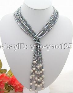 Excellent! 3Strds 46'' Black &White Pearl Necklace