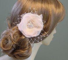 Flower Fascinator Wedding Headpiece Ivory Blush  by AnnLeslie, $95.00