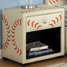 Awesome Baseball nightstand or side table by Furniture of America CM7102BSBL-N Olympic Baseball Themed Kids Nightstand