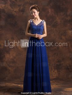 Formal Evening Dress - Ruby / Royal Blue Plus Sizes A-line V-neck Floor-length Chiffon 2015 – $49.79