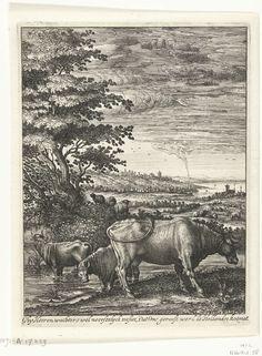 Hendrick Hondius (I) | Koeien in een landschap, Hendrick Hondius (I), 1644 | Allegorisch landschap met links bomen en een rivier op de achtergrond. Op de voorgrond een staande koe (de Hollandse Koe) naar rechts en twee koeien die in het water waden. Kudden schapen op het tweede plan. Allegorie op de staat van het land rond het jaar 1644.