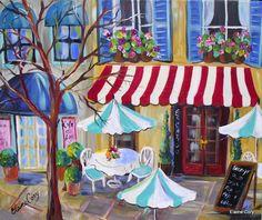 French Cafe City Scene Original Acrylic Painting 24 x 30 Art by Elaine Cory