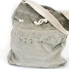 double want.  Greta Bean — Grey vintage canvas Tote