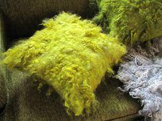 Wool felt shaggy pillow in bright chartreuse green Felt Cushion, Felt Pillow, Nuno Felting, Needle Felting, Wet Felting Projects, Wool Felt, Felted Wool, Fabric Ribbon, Handmade Felt