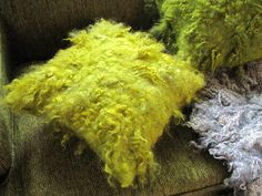 Wool felt shaggy pillow in bright chartreuse green