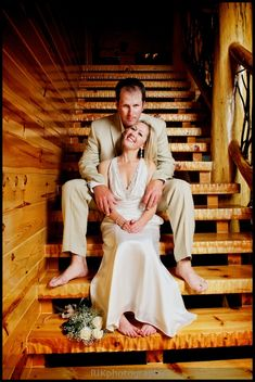 we are getting married at his family cabin, this would be a cute pic to take on their stairs