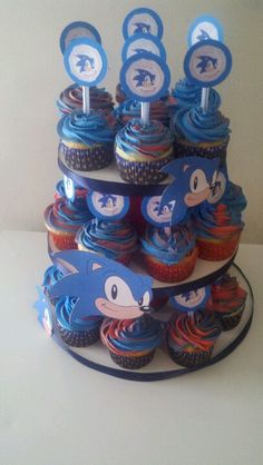 Sonic cupcake stand blue n red white cupcakes