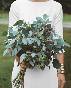 A DIY Wedding, With a Ceremony in a Pool | Martha Stewart Weddings - The bride's bouquet was crafted from different types of fragrant eucalyptus, which Jessie chose because of its soothing scent.