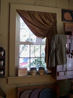 Curtains (or blinds) for Trapezoid Windows? Primitive Bathrooms, Primitive Kitchen, Country Primitive, Curtains Over Blinds, Panel Curtains, Valance, Prim Decor, Country Decor, Country Homes