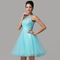 High Quality Luxury pale turquoise Tulle Short Mini Open Back Beaded Crystals Formal Party Gown Cocktail Dresses 2015 CL6151, View Tulle gown cocktail dress, Grace karin Product Details from Grace Karin Evening Dress Co. Limited (Suzhou) on Alibaba.com