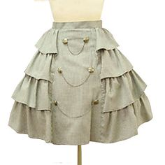 Vintage Military Short High Waist Side Frill Beige Cotton Punk Lolita Skirt