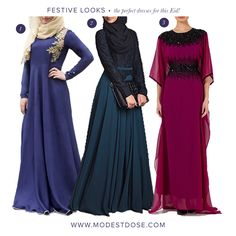 Our picks of Eid dresses from UK modest brands! 1.@biahcouture 2.@inayahc 3.@nisaaboutique