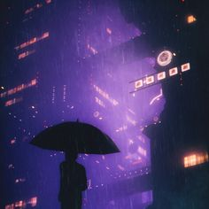 Neon nights in the rainy city. Depressive weather and pretty moody art. Synth wave vibe in the design. Night Aesthetic, City Aesthetic, Aesthetic Themes, Aesthetic Backgrounds, Aesthetic Wallpapers, Dark Purple Aesthetic, Depressed Aesthetic, Purple Umbrella, Rain Wallpapers