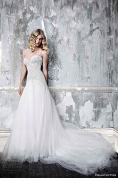 pallas couture wedding dress 2015 charlette strapless wedding dress beaded lace bodice full french tulle skirt