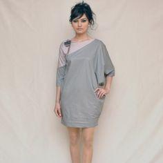 Gri Pudra %100 Saten Elbise