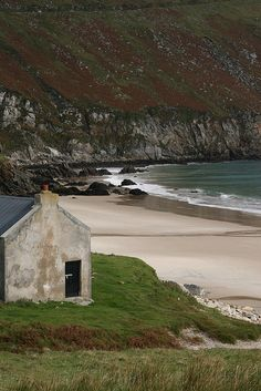 Stone cottage by the sea, Ireland