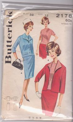 I have this one! 1960s vintage sewing pattern for skirt suit  with jacket, straight skirt, top misses size 12 bust 32 Butterick 2178 CUT and COMPLETE