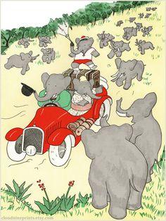 Childrens Room Art, Toddler Room Decor, Elephant Nursery Art, Cute Baby Boy Gift, Cute Baby Girl Gift. Babar Wall Art Print