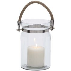 UMA Glass Metal Roped Handle Lantern ($13) ❤ liked on Polyvore featuring home, home decor, candles & candleholders, no color, metal lantern, glass home decor, glass candle, glass lantern и round candles
