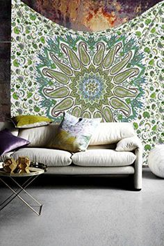 Madhu International Mandala 85 x 104 Inch Cotton Wall Tapestry MultiColored -- Click for Special Deals  #Mandala