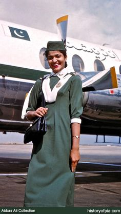 Uniform (Abbas Ali Collection) A PIA Air Hostess with airline's first Vickers Viscount 815 (AP-AJC) photographed at Karachi Airport in 1959 History Of Pakistan, Pakistan News, Pakistan International Airlines, Pak Army Soldiers, Airline Cabin Crew, Delta Flight, Pakistani Culture, Airline Uniforms, Air India