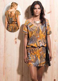 Vestido Étnico Decote Profundo nas Costas - Posthaus
