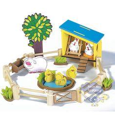 Coleção Fazendinha Galinheiro, Coleção Fazendinha Galinheiro Newart, Brinquedos Newart do Brasil, galinheiro de Madeira, Bicho de Madeira, Animal de Madeira