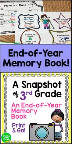 End of Year Memory Book for Grade 4th Grade Classroom, Classroom Ideas, Student Games, End Of Year Activities, School Information, Third Grade, Grade 3, End Of School Year, School Memories