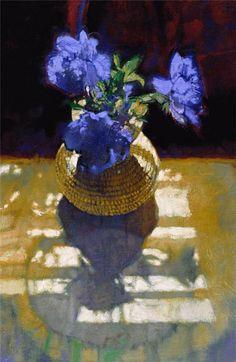 Blue Bells: Michael Dudash - Floral, flowers, light through window, blue, yellow, gold