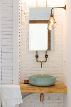 WHITE BRICK WALL IDEAS - There's some thing concerning brick walls which I like. Whatever type of area It's, I prefer to discover the brick walls . White Bathroom Paint, Brick Bathroom, Bathroom Cabinets, Bathroom Vanities, Basement Bathroom, Bathroom Fixtures, Goods Home Furnishings, Bowl Sink, Chic Bathrooms