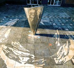 This cone mirror anamorphosis of the scientist John Dalton, by the architect Andrew Compton.