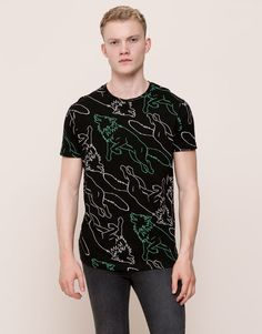 Pull&Bear - hombre - camisetas - camiseta all over lobos manga corta - negro - 09238518-I2015