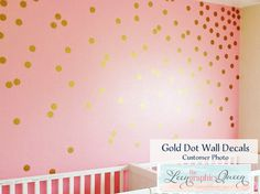 Gold Circle Dot Shaped Wall Decals - Set of 200 Vinyl Wall Decals in 45 Color Options - Nursery or Kid Room Decor - Gold Dot Wall Stickers