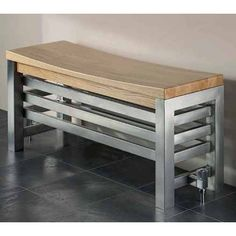 Aestus Noa Stainless Steel Bench Radiators with Oak or Wenge Seat from Designer Warmth Radiators Home Radiators, Bathroom Radiators, Column Radiators, Contemporary Radiators, Contemporary Style, Modern, Stainless Steel Radiators, Horizontal Radiators, Storage Bench Seating