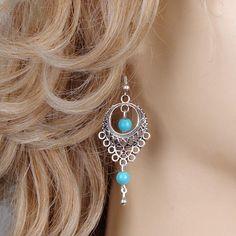 1Pair Fashion Hollow Turquoise Bead Drop Dangle Earring Ear Hook Womens Gift