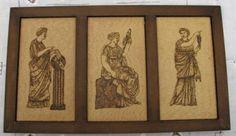 figuras griegas cuadro simil-madera,betún de judea pirograbado