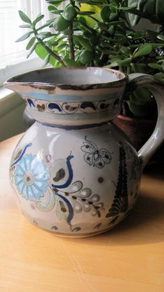 Ken Edwards EL Palomar, Tonala, Mexican Pottery, Stoneware Pitcher. $68.00, via Etsy.