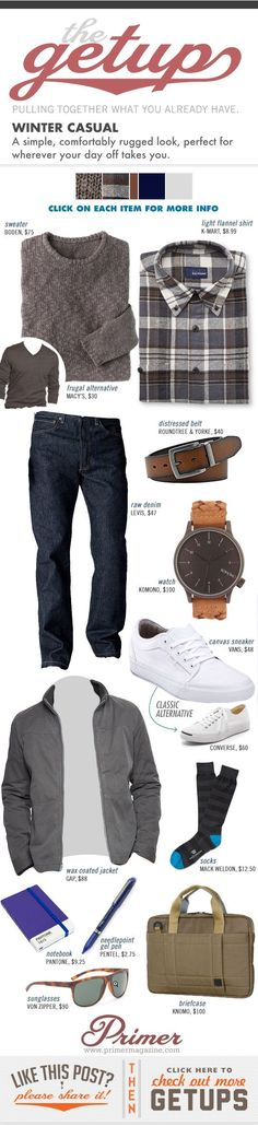 The Getup: Winter Casual - Primer...except he'd wear loafers or boots