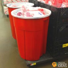 Make a giant solo cup out of a trash can, just use red & white spray paint... Can be use as a recycling container or to keep your drinks cool at parties
