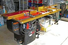 I have a SawStop and am thinking about adding in Incra system to include a router table and lift on the right side. Any pictures of your SawStop/Incra systems and/or recommendations of what to get and where to purchase it from. Carpentry Tools, Woodworking Equipment, Woodworking Projects, Router Table Fence, Router Table Plans, Workshop Design, Workshop Ideas, Cabinet Table Saw, Table Saw Station