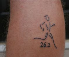 Another Marathon Tattoo, nice line drawing with the significant number of 26.2 miles (or 42.1kms)  to commemorate the fabled run of the Greek soldier Pheidippides, a messenger from the Battle of Marathon to Athens.