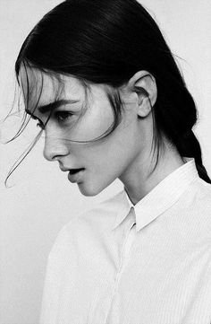 brows, photography, black and white, hair, white shirt